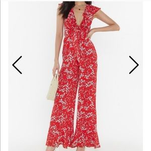 Nasty Gal Pants & Jumpsuits - Nasty Gal red floral tie-front ruffle jumpsuit